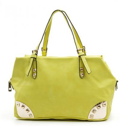 Lime Green Handbag. Melon Green Purse. Lemon Green Hobo.