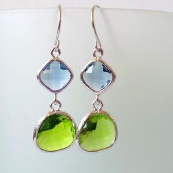 Lime Green and London Blue Crystal Earrings. Green and Blue Dangles. Apple Green and Aqua Blue Chandeliers. Bridal, Bridesmaids Gifts.